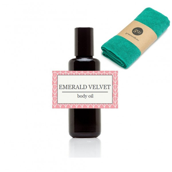 Greenwalk masažo aliejus EMERALD VELVET 50ML + daugkartinė makiažo valymo šluostė