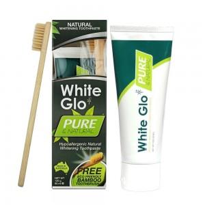 WHITE GLO PURE natūrali balinamoji dantų pasta + ekologiškas bambukinis šepetėlis