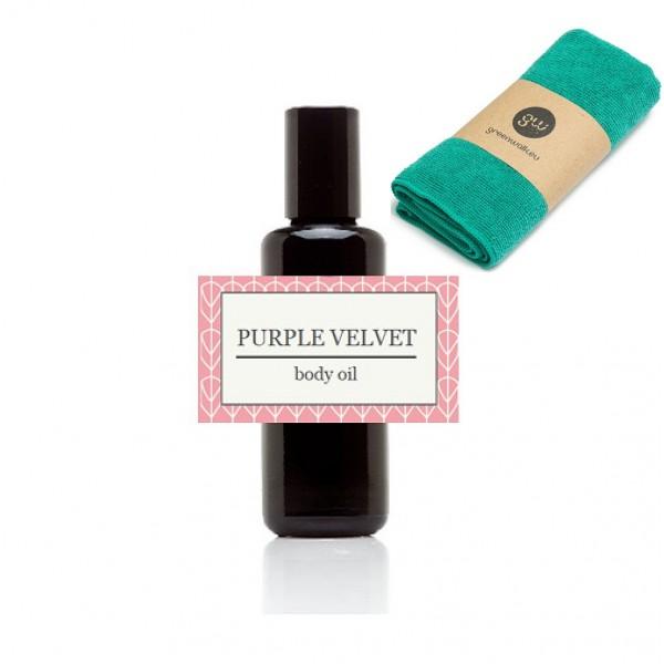 Greenwalk  masažo aliejus Purple Velvet , 50 ml + daugkartinė makiažo valymo šluostė